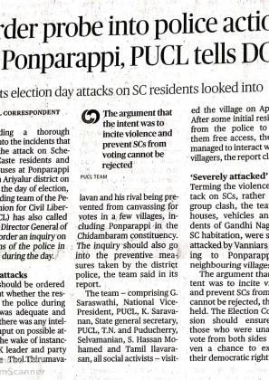PUCL report of Fact Finding Team on Ponparappi attack (Tamil)